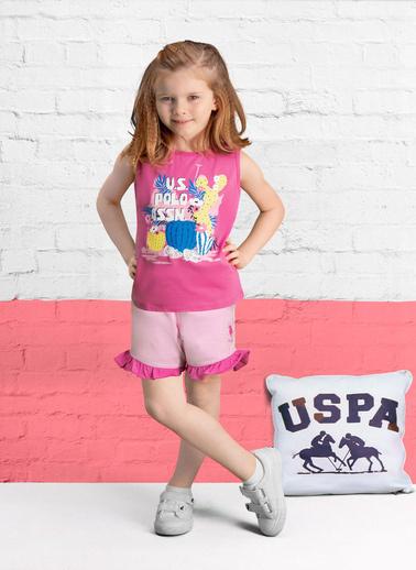 U.S. Polo Assn. U.S. Polo Assn Lisanslı Nar Kız Çocuk Şort Takım Pembe